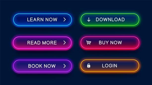 illustrazioni stock, clip art, cartoni animati e icone di tendenza di trendy neon buttons for web design. - tastierino numerico
