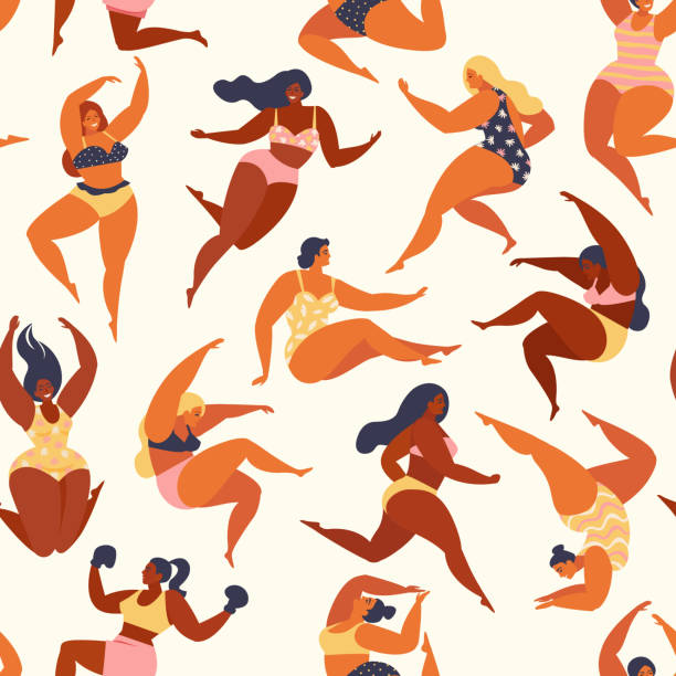 Trendy pattern with girls in summer swimsuits. Body positive. Vector seamless pattern. Trendy pattern with girls in summer swimsuits. Body positive. Seamless pattern. active lifestyle stock illustrations