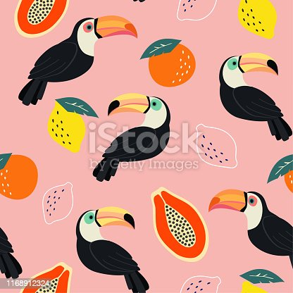 Trendy pattern with toucan and abstract tropical fruits. Vector seamless texture.
