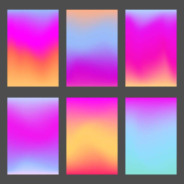 bildbanksillustrationer, clip art samt tecknat material och ikoner med trendig rosa och violett gradienter för ui design - pink sunrise