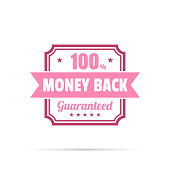 Pink trendy badge (Money Back, 100% Guaranteed) with shadow, isolated on a white background. Elements for your design, with space for your text. Vector Illustration (EPS10, well layered and grouped). Easy to edit, manipulate, resize or colorize.