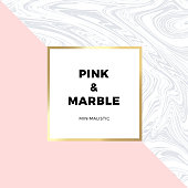 Trendy pink geometric card or flyer design wiht contrast shapes, marble texture, gold frame and space for text. Vector illustration