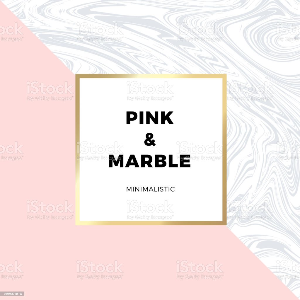 Trendy pink geometric card or flyer design wiht contrast shapes, marble texture, gold frame and space for text. Vector illustration vector art illustration