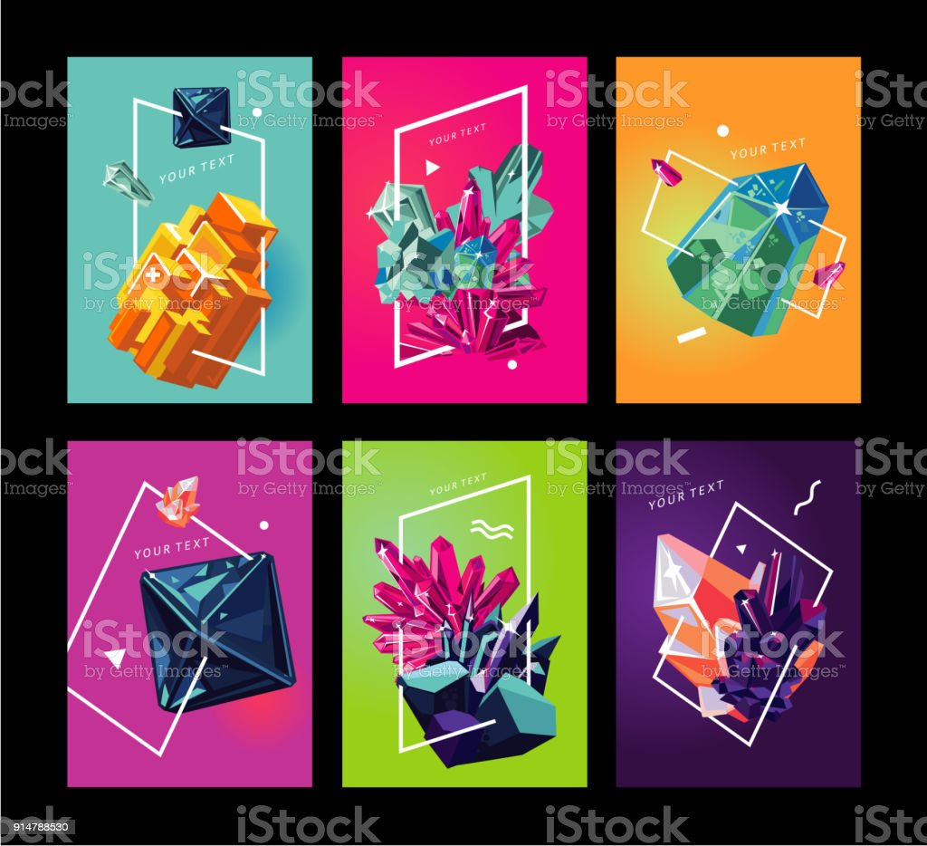 Trendy poster collection with crystals. Abstact covers set. royalty-free trendy poster collection with crystals abstact covers set stock illustration - download image now