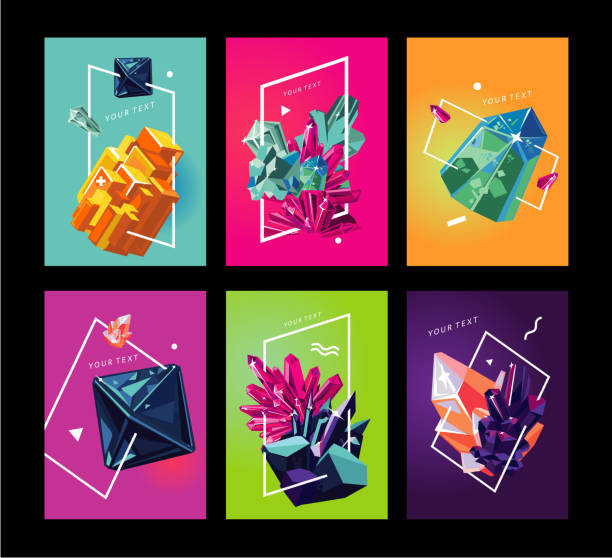 Trendy poster collection with crystals. Abstact covers set. vector art illustration