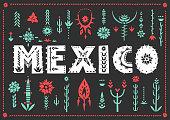 Trendy poster Mexico with lettering and decorative floral elements.