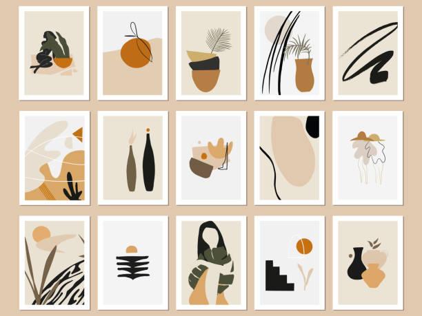 illustrations, cliparts, dessins animés et icônes de tirages d'art abstraits imprimables à la mode. bundle d'illustrations vectorielles. affiches terra minimales. - art