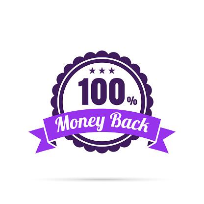 Trendy Purple Badge - 100% Money Back