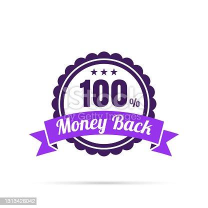 istock Trendy Purple Badge - 100% Money Back 1313426042