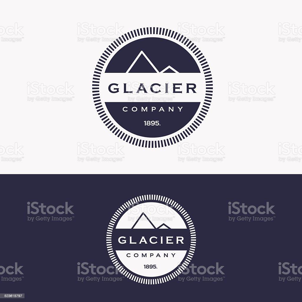 trendy retro glacier mountain insignia logo vector art illustration
