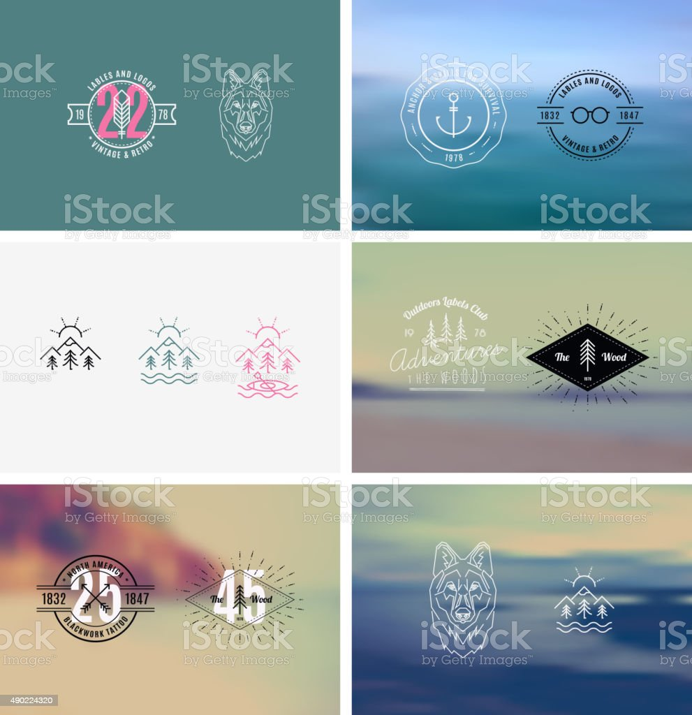 Trendy Retro Vintage Insignias with a blurred background vector art illustration