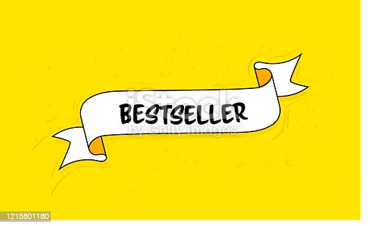 Trendy Ribbon Banner with Text Bestseller. Retro Style Design.