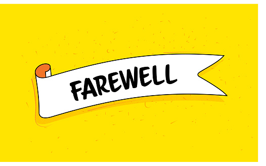 Trendy Ribbon Banner with Text Farewell. Retro Style Design.