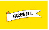 istock Trendy Ribbon Banner with Text Farewell. Retro Style Design. 1218648708