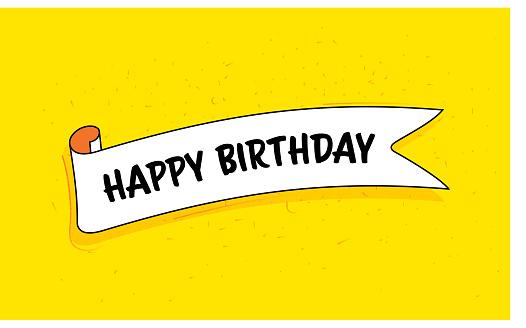Trendy Ribbon Banner with Text Happy Birthday. Retro Style Design.