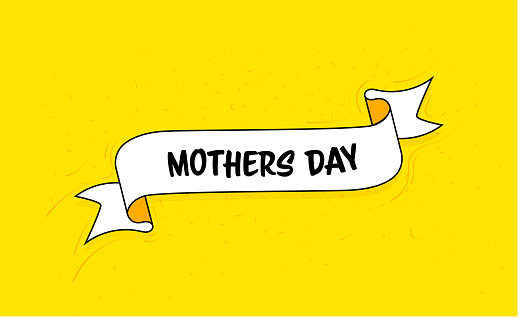 Trendy Ribbon Banner with Text Mother's Day. Retro Style Design.