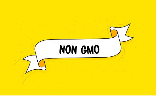 Trendy Ribbon Banner with Text Non GMO. Retro Style Design.