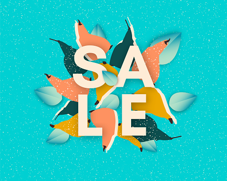Trendy sale banner with paper cut pears and leaves
