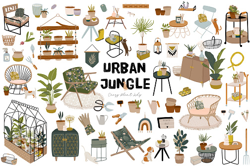 Trendy Scandinavian Urban Greenery quotes. Home Jungle lettering for home decorations.