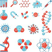 Trendy science icons. Physics Chemistry Biology and Medicine