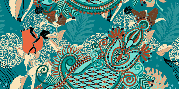 trendy seamless artistic flower pattern, beautiful tropical flor