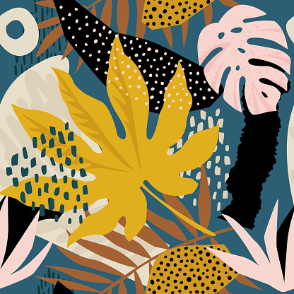 Trendy seamless exotic pattern with tropical plants and animal prints. Vector illustration. Modern abstract design for paper, wallpaper, cover, fabric, Interior decor and other users