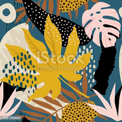Trendy seamless exotic pattern with tropical plants and animal prints. Vector illustration. Modern abstract design for paper, wallpaper, cover, fabric, Interior decor.