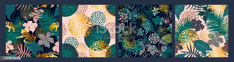 Trendy seamless exotic patterns with palm, animal prints and hand drawn textures. Vector illustration. Modern abstract design for paper, wallpaper, cover, fabric, Interior decor and other users.