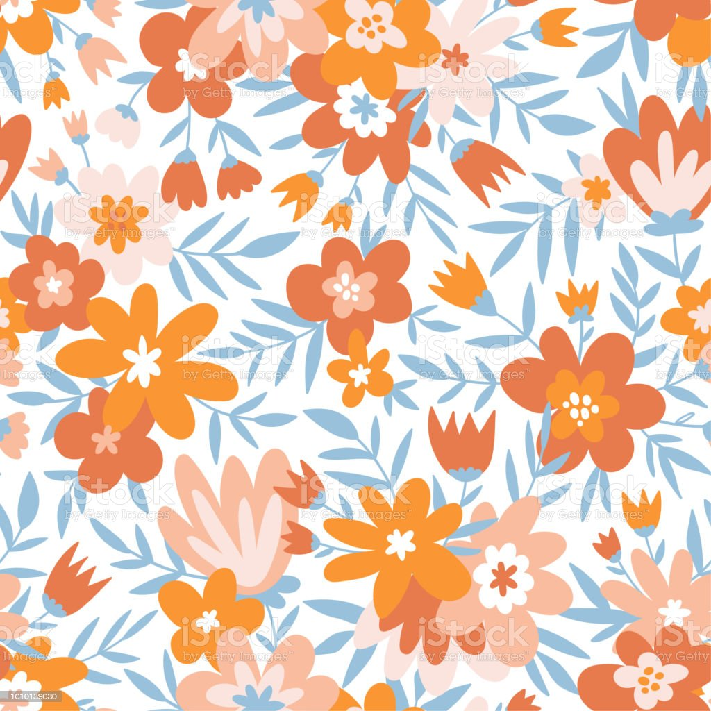 Trendy Seamless Floral Ditsy Pattern Fabric Design With