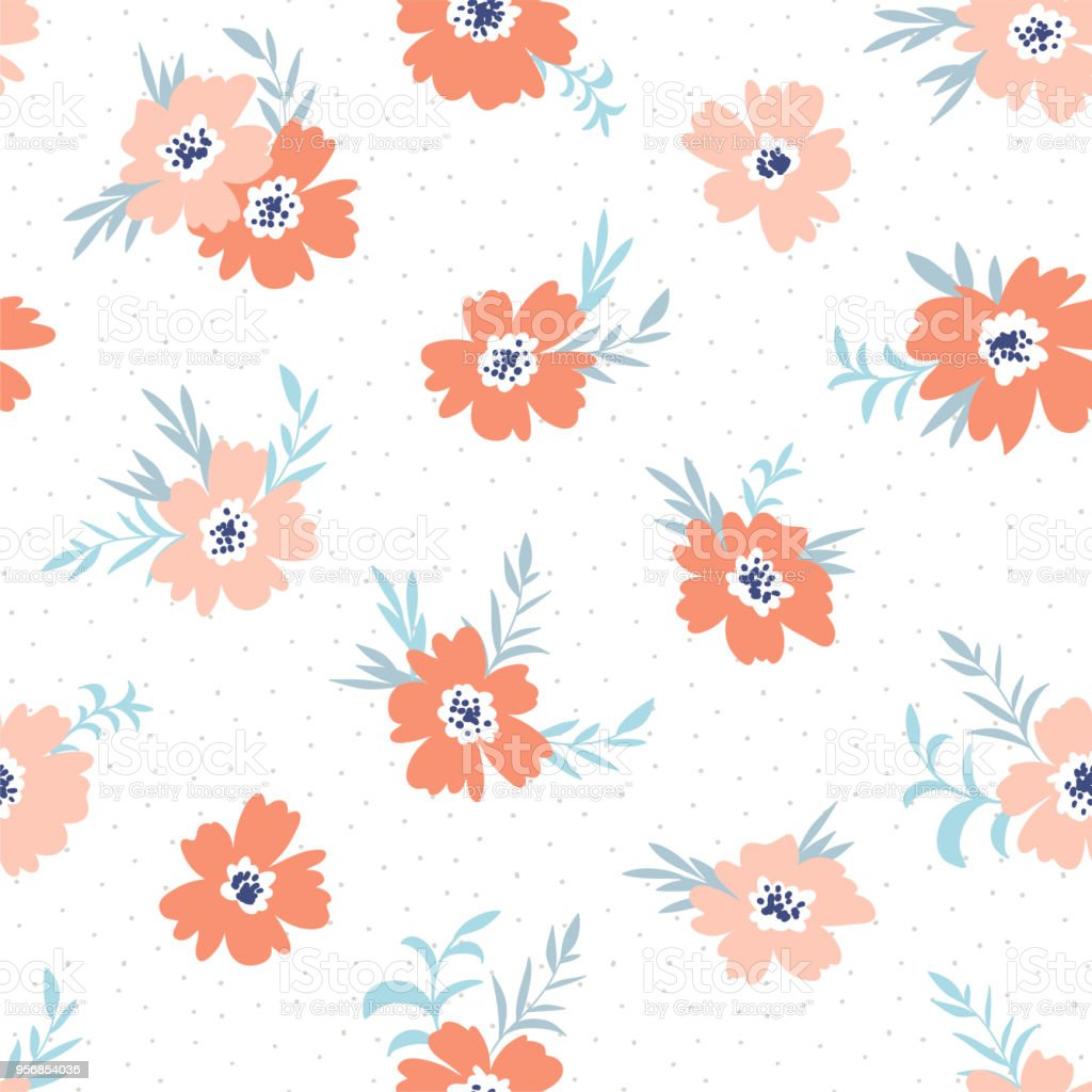 Trendy Seamless Floral Ditsy Pattern Fabric Design With Simple