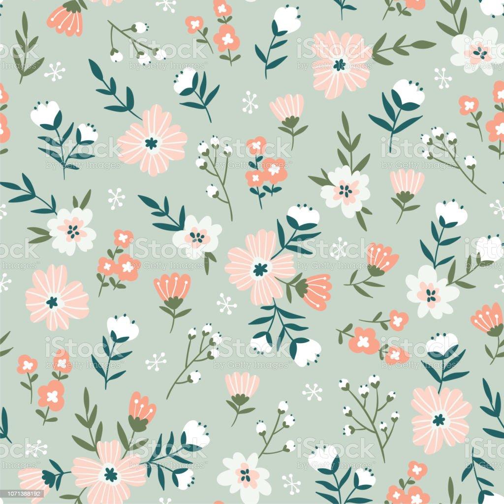 時尚無縫花卉圖案。面料設計與簡單的花朵。向量可愛重複的蒂西圖案的面料, 壁紙或包裝紙。 - 免版稅俄羅斯圖庫向量圖形