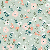 Trendy seamless floral  pattern. Fabric design with simple flowers. Vector cute repeated ditsy pattern for  fabric, wallpaper or wrap paper.