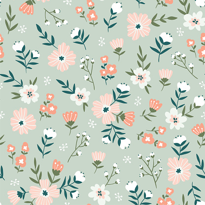 Trendy seamless floral  pattern. Fabric design with simple flowers. Vector cute repeated ditsy pattern for  fabric, wallpaper or wrap paper. clipart