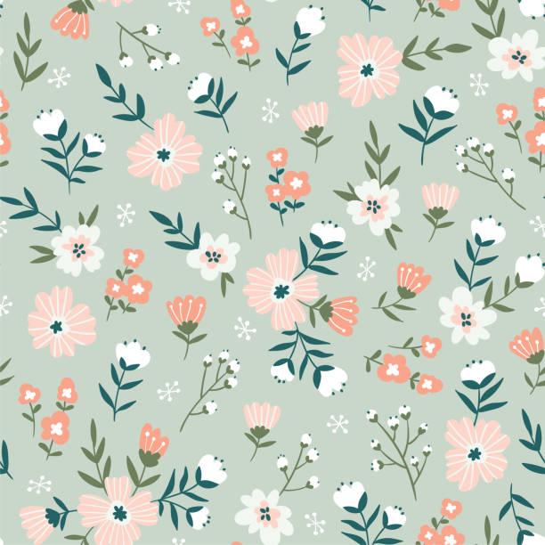 トレンディなシームレスな花柄。シンプルな花とデザインのファブリック。ベクトルかわいいファブリック、壁紙またはラップ ペーパーの頭が変なパターンを繰り返します。 - 花点のイラスト素材/クリップアート素材/マンガ素材/アイコン素材