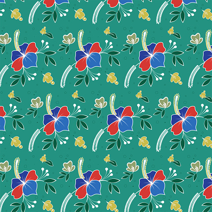 Trendy seamless floral pattern. Fabric design with simple flowers.