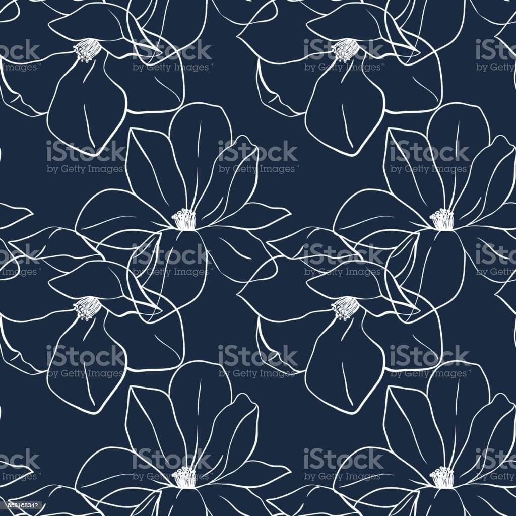 Trendy seamless floral print with magnolia flowers on deep blue color. Vector hand drawn illustration for print,textile,wrapping paper. vector art illustration