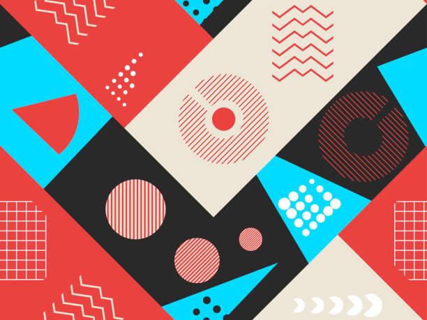 trendige musterdesign. geometrische elemente trendy im stil der 80er jahre. bauhaus retro. vektor-illustration - bauhaus stock-grafiken, -clipart, -cartoons und -symbole