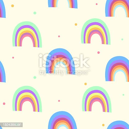 istock Trendy seamless pattern with colorful rainbow on color background. Design for invitation, poster, card, fabric, textile, fabric. Cute holiday illustration for baby. Doodle style 1324355391