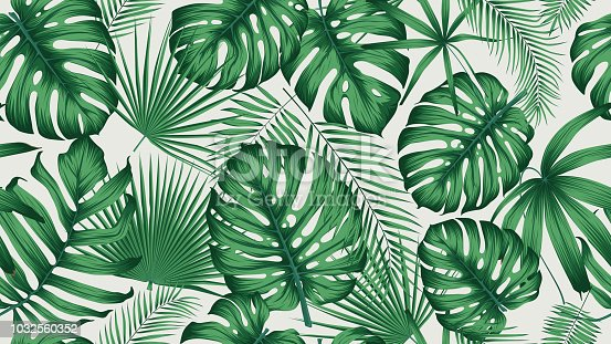 istock Trendy seamless tropical pattern with exotic leaves and plants jungle 1032560352