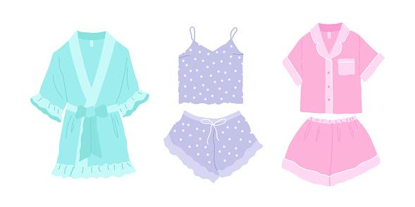 Trendy set cozy homewear. Pretty comfy pajamas, nightgown and shorts, silk robe.