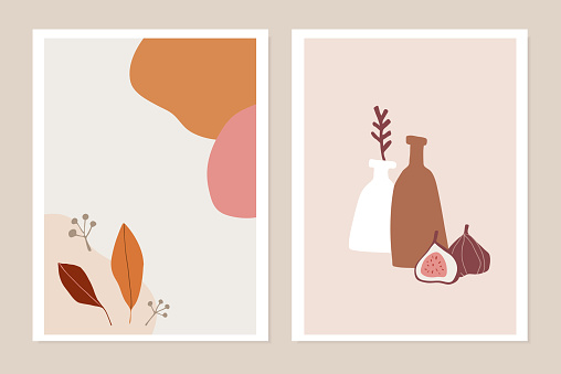 Trendy set of fall greeting cards, invitations. Fig fruit, colorful autumn leaves and vase. Abstract geometric shapes. Modern minimalist drawings, wall art, posters. Flat vector illustrations.