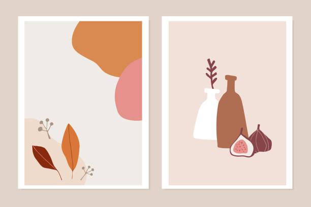trendige satz von herbst grußkarten, einladungen. feigenfrucht, bunte herbstblätter und vase. abstrakte geometrische formen. moderne minimalistische zeichnungen, wandkunst, plakate. flache vektor-illustrationen. - avantgarde stock-grafiken, -clipart, -cartoons und -symbole