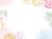 Trendy simple flat lay design vector horizontal background. Pink and lilac white hydrangea, palm leaves, golden shimmer monstera, watercolor style coral texture. Spring card. Isolated and editable