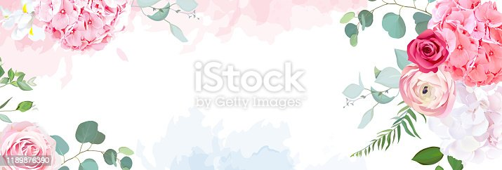 Trendy simple flat lay design vector horizontal background. Pink hydrangea, red magenta rose, coral ranunculus, iris, eucalyptus and greenery,watercolor style texture.Spring card.Isolated and editable