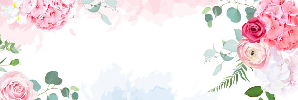 Trendy simple flat lay design vector horizontal background. Trendy simple flat lay design vector horizontal background. Pink hydrangea, red magenta rose, coral ranunculus, iris, eucalyptus and greenery,watercolor style texture.Spring card.Isolated and editable flowers stock illustrations
