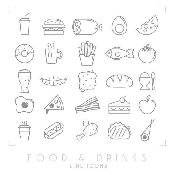 illustrazioni stock, clip art, cartoni animati e icone di tendenza di trendy simple thin line food icons big set. fast food and breakfast, national and healthy food symbols. - mortadella