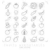 Trendy simple thin line fruits and vegetables icons big set. Healthy eco, tropic and diet vector illustrations. EPS10 + JPEG preview.