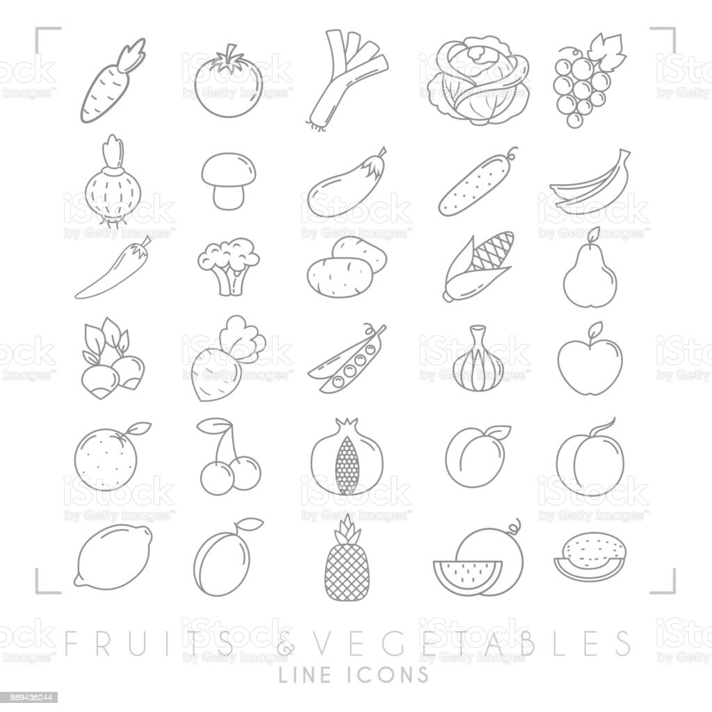 Trendy simple thin line fruits and vegetables icons big set. Healthy eco, tropic and diet vector illustrations. vector art illustration