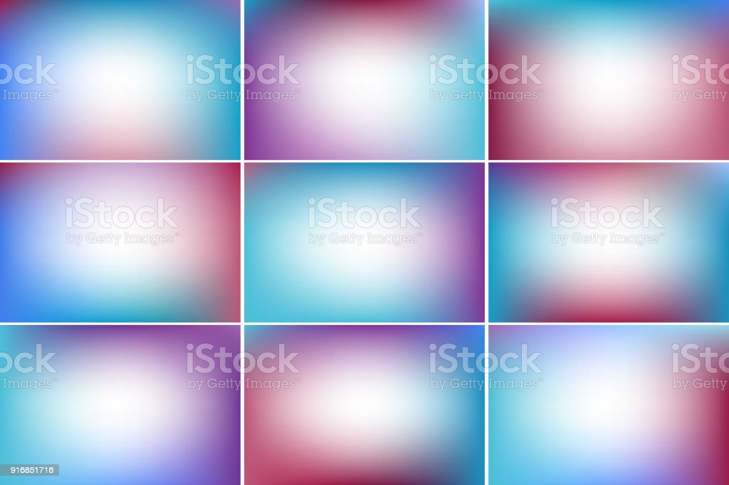Trendy sky banners. Purple, red and blue colors. Gradient vector backgrounds collection vector art illustration