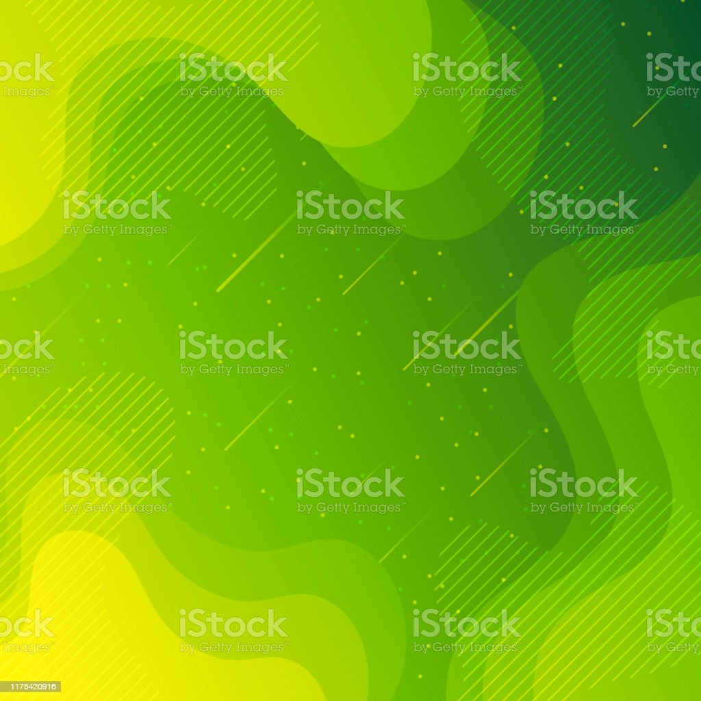 Trendy starry sky with fluid and geometric shapes - Green Gradient - Royalty-free Abstract stock vector